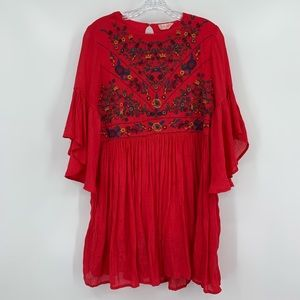 Altar'd State Red Embroidered Boho Dress